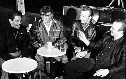 L-R: Lee Allen, Carl Perkins, Dave Alvin, Phil Alvin, February 1982